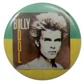 Billy Idol - 'Billy Green & Yellow' Button Badge